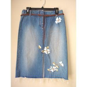 Kenneth Cole Embroidered Denim Skirt